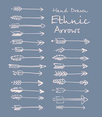 Collection of ethnic arrows hand-drawn for your design. Vector