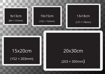 Photo frames with standard photo sizes on transparent A2 sized background. Vector.