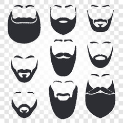 Isolated face with mustache and beard vector logo set. Men barber shop emblem.