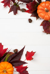 Autumn: White Wood Background With Fall Leaves In Corners