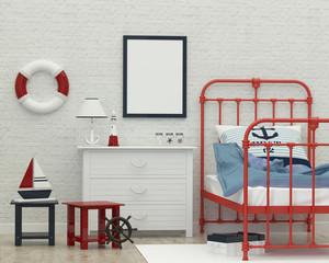 kids sleeping room interior 3d rendering image