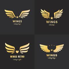 Gold wings logo vector set. Vintage hipster design. Part two.