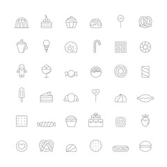 Sweets outline icon big vector set. Simple design.