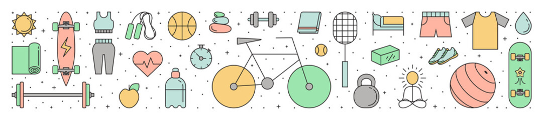 Fitness and sport horizontal outline illustration. Simple design