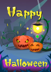 Happy Halloween Banner Pumpkin Scary Face