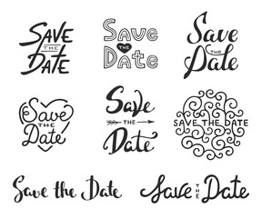 Save the date calligraphy phrases. Unique lettering.