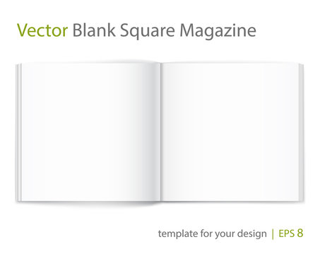 Blank of open square magazine on white background. Template