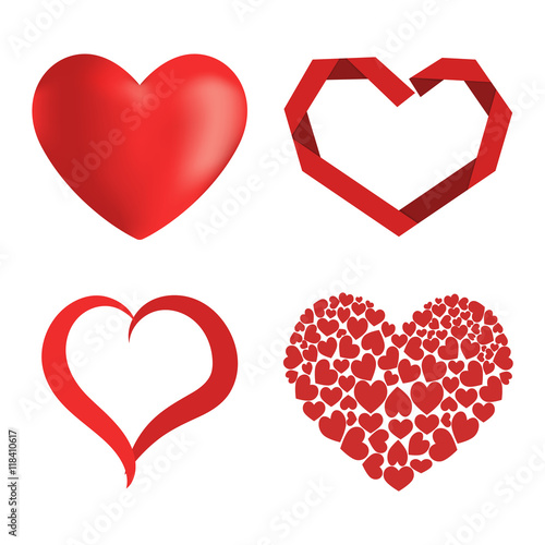 Simple Red Hearts Sharp Vector Icon Color Card Beautiful Celebrate
