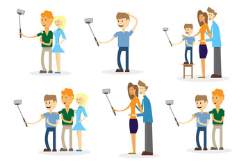 People Set Taking Selfie Photo On Smart Phone With Stick