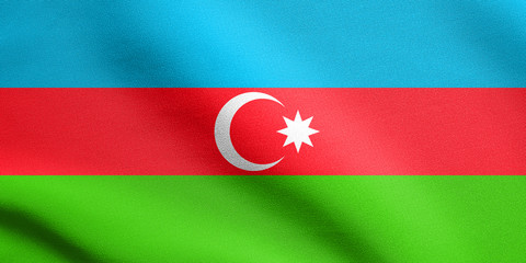Flag of Azerbaijan waving with fabric texture