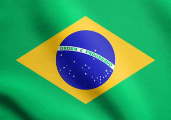 Flag of Brazil waving with fabric texture