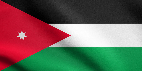 Flag of Jordan waving with fabric texture
