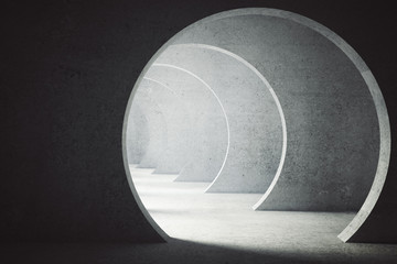 Textured concrete tunnel