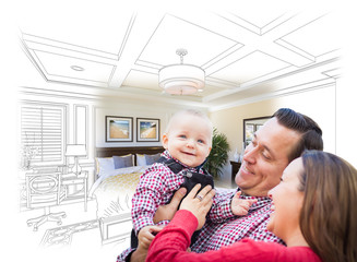 Happy Young Family With Baby Over Custom Bedroom Drawing and Photo Combination.