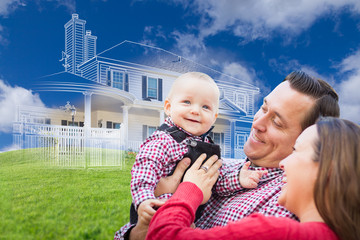 Happy Young Family with Ghosted House Drawing, Partial Photo and Rolling Green Hills Behind.