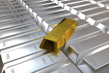 silver bars and one goldbar