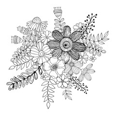 Flower doodle drawing freehand vector