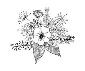 Flower Doodle Vector, Coloring page with doodle flowers vector