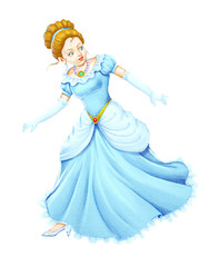 Printed kitchen splashbacks Fairytale World A cute princess in blue gown