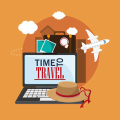 laptop airplane picture suitcase hat time travel vacations trip icon. Colorful design. Vector illustration