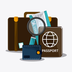 baggage ticket passport time travel vacation trip icon. Colorful design. Vector illustration