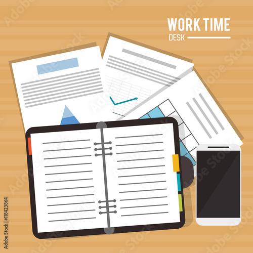 notebook document infographic smartphone worktime desk