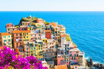 Spoed Fotobehang Blauw Cinque Terre, Italy