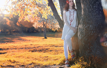 Girl hippie in autumn