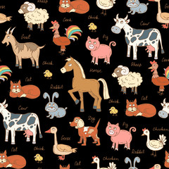 Vector seamless pattern with hand drawn colored animals on black color