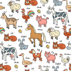 Vector seamless pattern with hand drawn colored animals