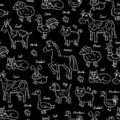 Vector seamless pattern with hand drawn isolated animals on black color
