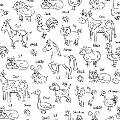 Vector seamless pattern with hand drawn isolated animals on white color