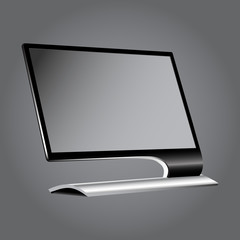 Monitor flat on a gray background vignette.EPS10