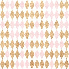 Seamless gold pattern. Golden and pink diamonds on a white backg