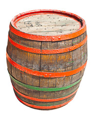 The old barrel on the isolated background