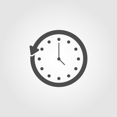 Clock going backwards icon symbol for apps and websites