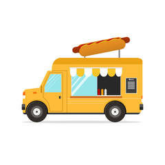 Hot Dog Van. Fast Food Transport. Vector