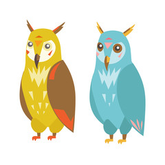 Cute Colorful Owl Set. Vector