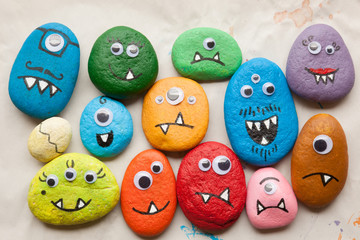 Painted stone monsters craft