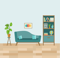 Living room with sofa and book shelves. Flat vector illustration.