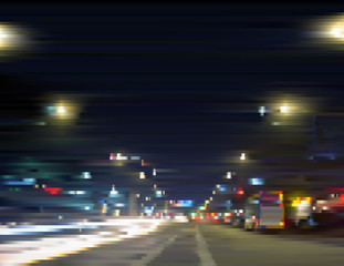 Illuminated city center. Urban streetlights at night. Traffic in motion. Gradient illustration with effect of sliced photo. Background for a poster, cover, business card, invitation, banner, postcard.