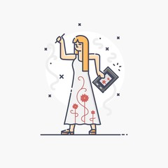 Outline business illustration of people profession illustrator