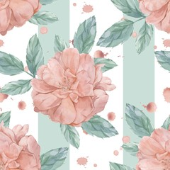 Roses and splashes. Seamless pattern. Watercolor painting. Handmade drawing.