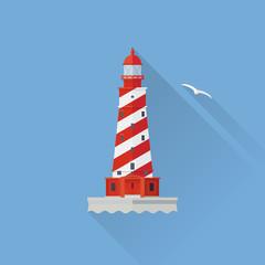 White Shoal Lighthouse in Lake Michigan Flat design long shadow icon