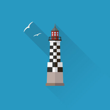 Perdrix Lighthouse in Brittany Flat design long shadow icon