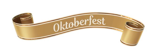 Curled golden ribbon banner with gold border - oktoberfest