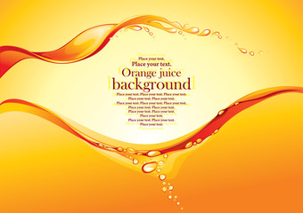 Orange juice background. Vector illustration.