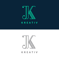 """Letter """"K"""" logotype. Trendy line art design. Eps10 vector illustration."""