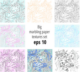 Marbling paper backgrounds set