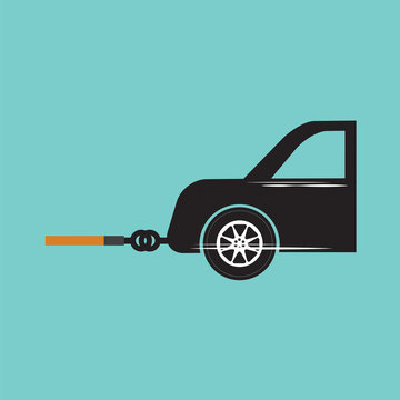 Towing Rope For Car Graphic Vector Illustration